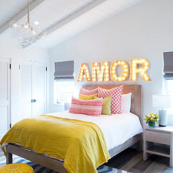 Yellow And Black Bedroom With Yellow Chevron Bedding