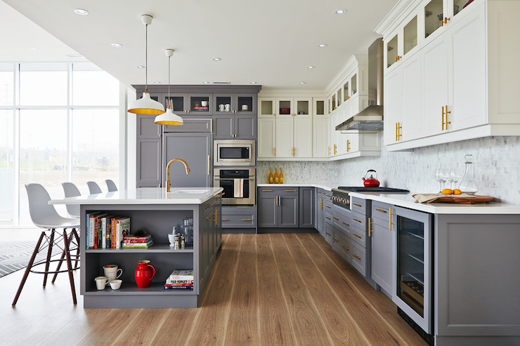 White Top Cabinets Gray Bottom Cabinets Contemporary Kitchen - Best gray for kitchen walls