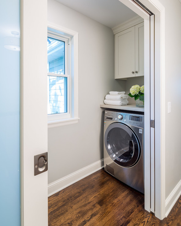 Silver washer and dryer design ideas for Open laundry room ideas
