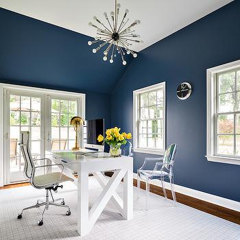 Home Office With Navy Blue Walls Design Ideas
