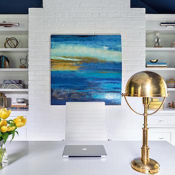 Bookcase with Picture Light, Contemporary, Den/library/office, Benjamin Moore Van Deusen Blue, Clean Design Partners