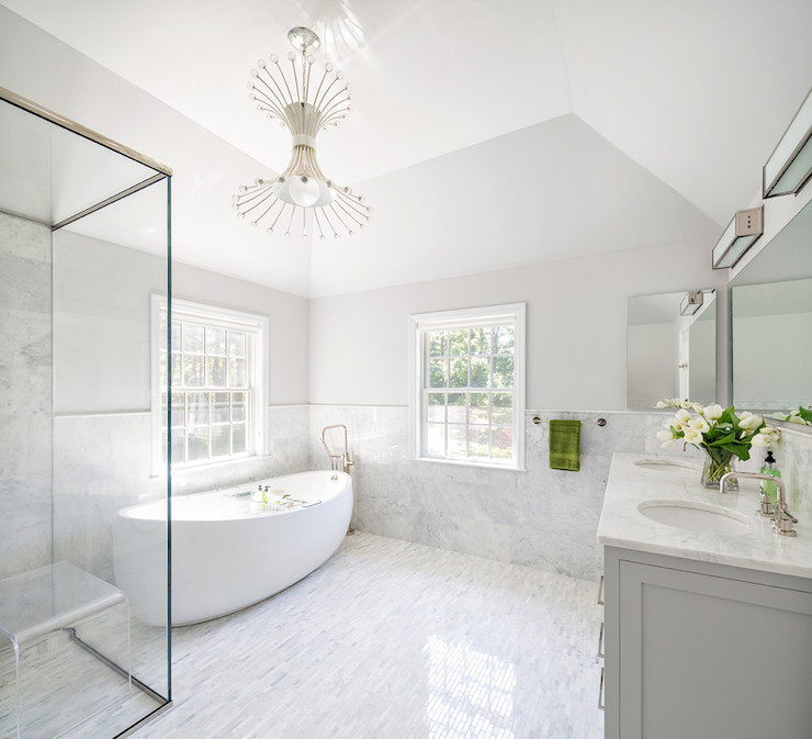 White and grey master bathrooms contemporary bathroom for Marble master bathroom designs