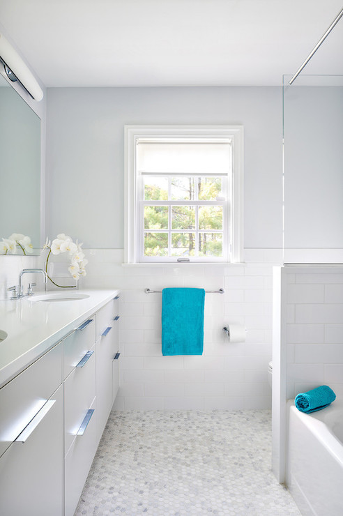 White And Gray Bathroom With Turquoise Accents