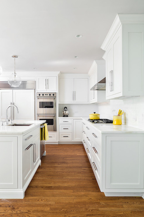 Kitchen cabinets with long pulls contemporary kitchen - Kitchen with yellow accents ...