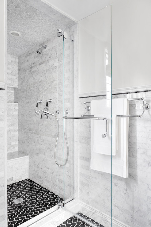 Shower with black hex tile floor transitional bathroom clean design partners Marble hex tile bathroom floor