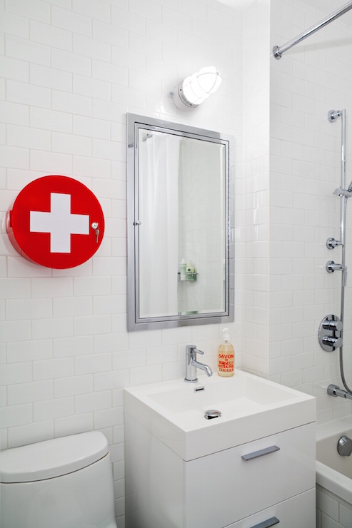 Red Cross Medicine Round Bathroom Cabinet