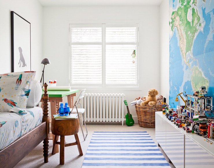 Kids Room With World Map Mural Transitional Boys Room - World map for kids room