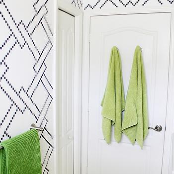 KIds Bathroom with Wall Stencils, Contemporary, Bathroom, Benjamin Moore Hale Navy, House Mix