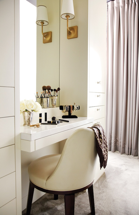 Superior Chic Dressing Room Features A Built In Dressing Table With Drawer Paired  With An Ivory Leather Vanity Chair Under Inset Mirror Illuminated By Brass  Sconces ... Nice Look