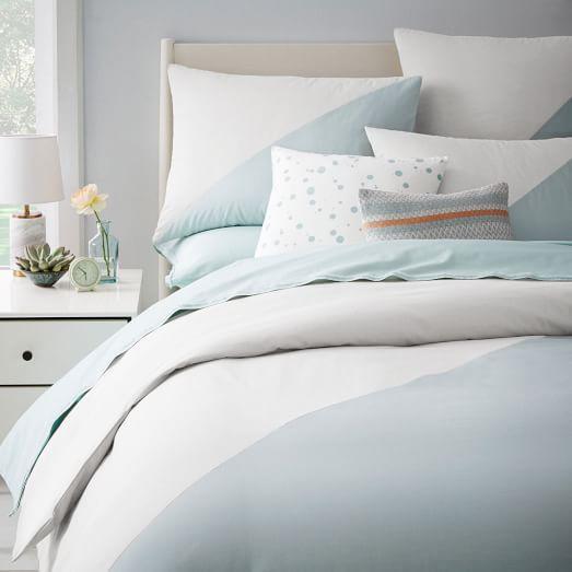 Kate Spade Saay Chambray Blue Diagonal Duvet Cover And Shams