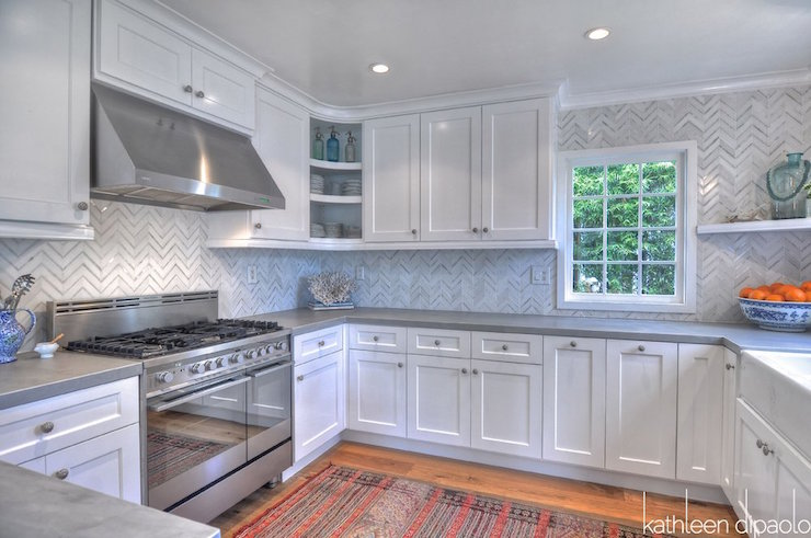 Kitchen Backsplash White Cabinets Gray Countertop gray shaker kitchen cabinets with engineered white quartz