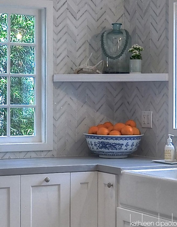 Marble herringbone tiled backsplash design ideas for Kitchen zinc design