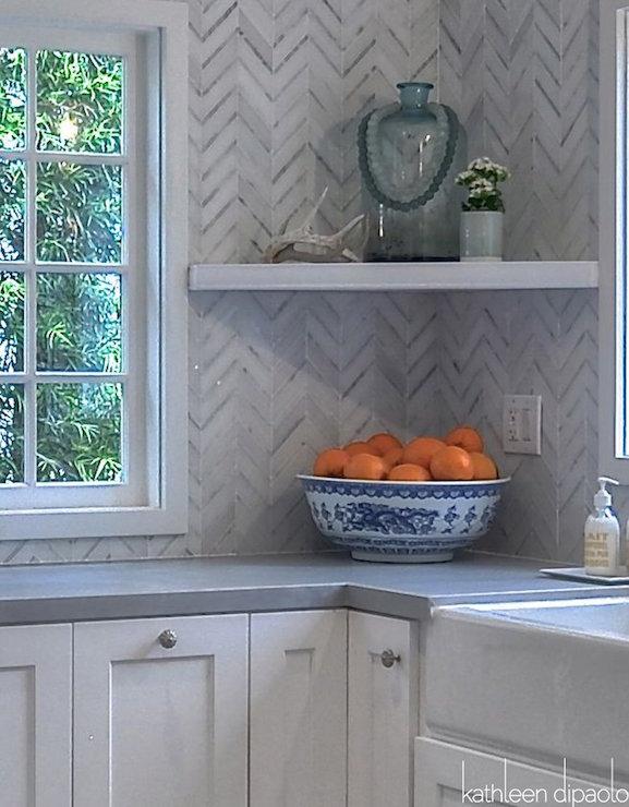 Gray Marble Herringbone Kitchen Backsplash Design Ideas