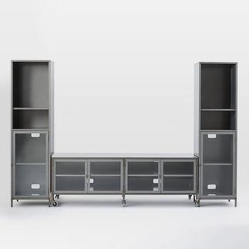 Industrial Metal Media Set, Large Console + 2 Towers I West Elm