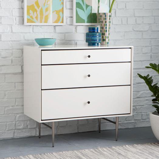 Heston Mid Century 3 Drawer White Dresser
