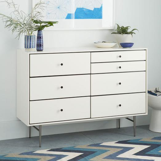 Heston Mid Century 7 Drawer White Dresser