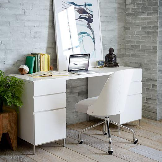 Lacquer White Storage Desk
