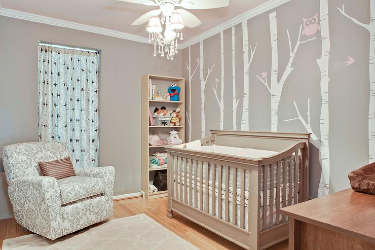 Beige And Gray Nursery With Tree Branch Accent Wall