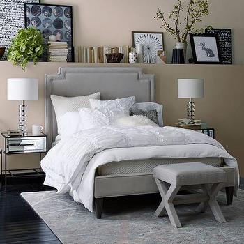 harlow upholstered grey bed