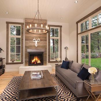 Wood Plank Fireplace - Cottage - Living Room - Crestwood Construction