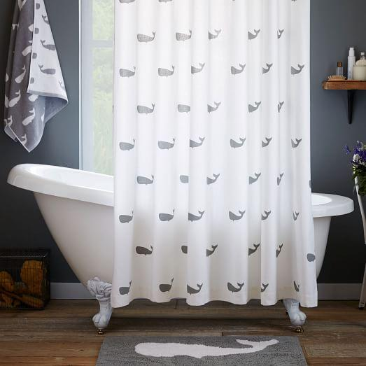 Whale Grey And White Shower Curtain