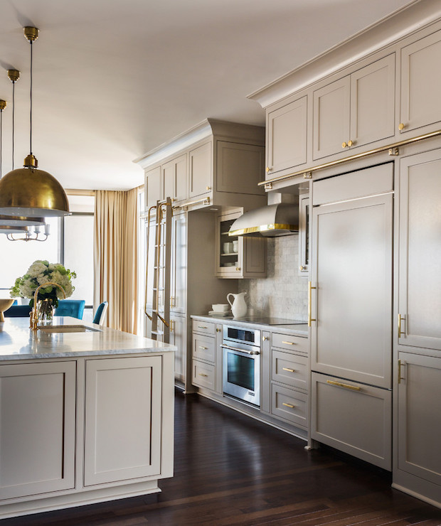 Beautiful Kitchen Features Greige Cabinets Painted Sherwin Williams