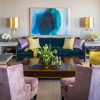 Peacock Blue Sofa, Contemporary, Living Room, Sherwin Williams Anew Gray, Tobi Fairley