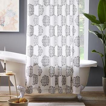 Scroll Medallion Shower Curtain, Feather Gray I West Elm