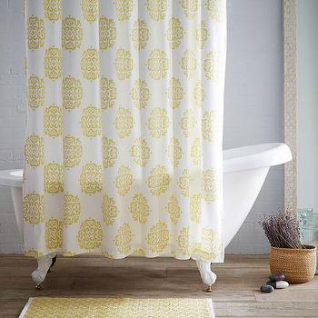 Scroll Medallion Shower Curtain, Citron I West Elm