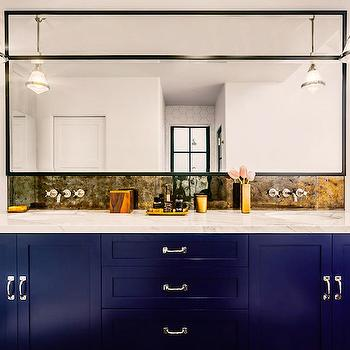 Blue backsplash transitional bathroom artistic - Cobalt blue bathroom accessories ...
