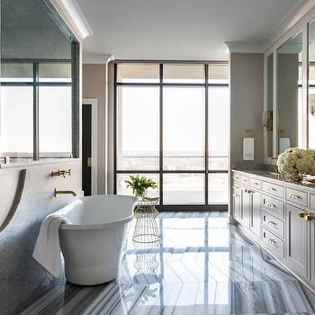 Bathroom Cabinets Painted Light Gray, Contemporary, Bathroom, Sherwin Williams Alpaca, Tobi Fairley