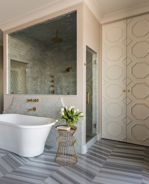 Walk Through Shower Contemporary Bathroom Sherwin
