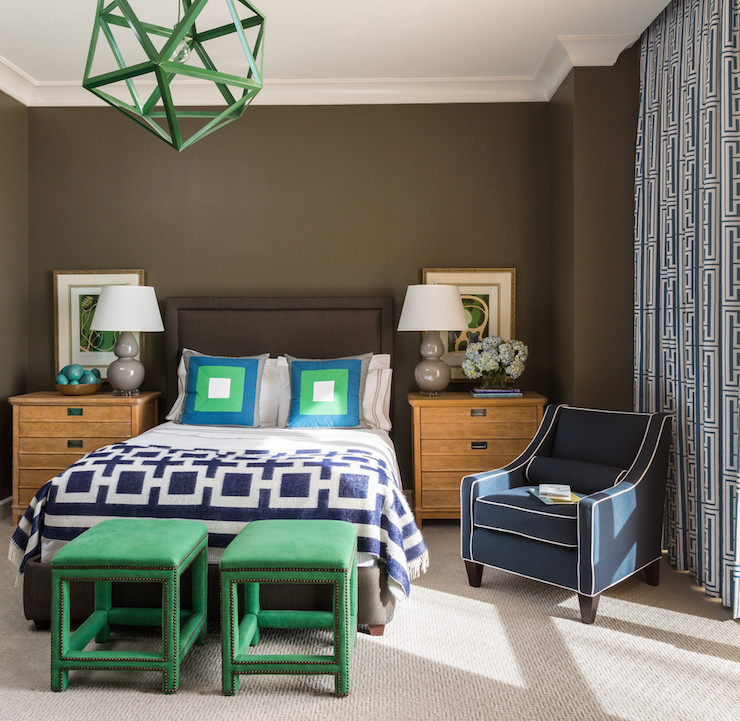 Emerald Green Stools - Contemporary - Boy's Room - Sherwin Williams
