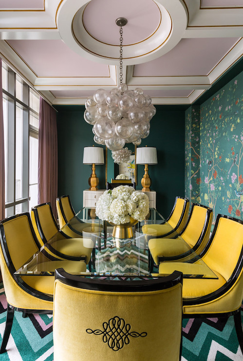 Chinoiserie Dining Room Features A Coffered Ceiling With Coffers Painted Violet Sherwin Williams Wallflower Accented An Oly Studio Muriel Chandelier
