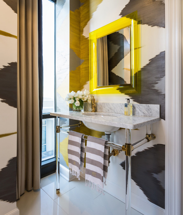 Bathroom Yellow And Gray nina campbell wallpaper - eclectic - bathroom - sherwin williams