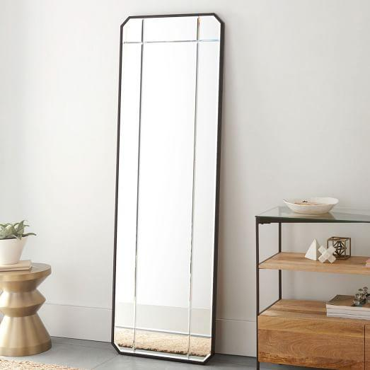 beveled black frame floor mirror