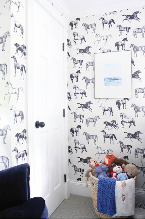 Adorable Boy S Nursery Features Walls Clad In Black And White Horse Wallpaper Collette By Sandberg Lined With A Framed Piece Of Art Over Round