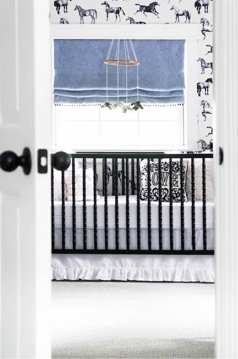 White Crib With Black And White Ruffle Crib Skirt