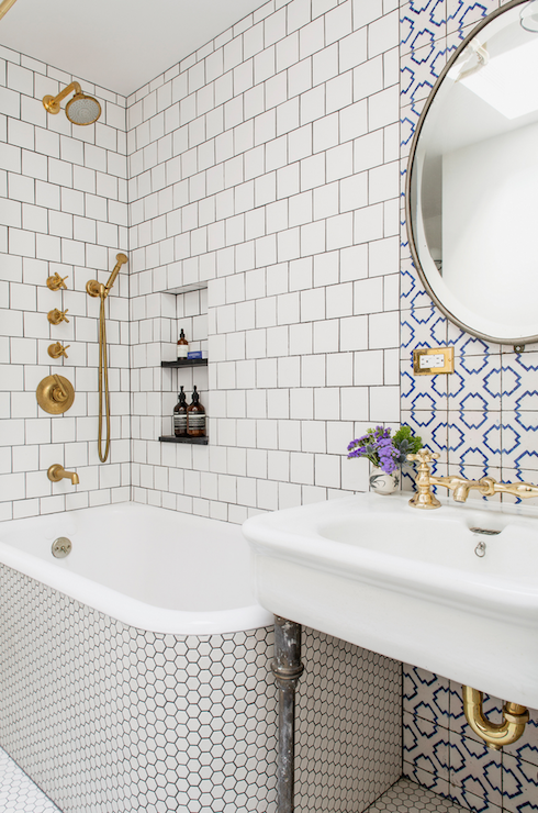 Hex Tiled Tub Contemporary Bathroom Ensemble Architecture - White square tile bathroom