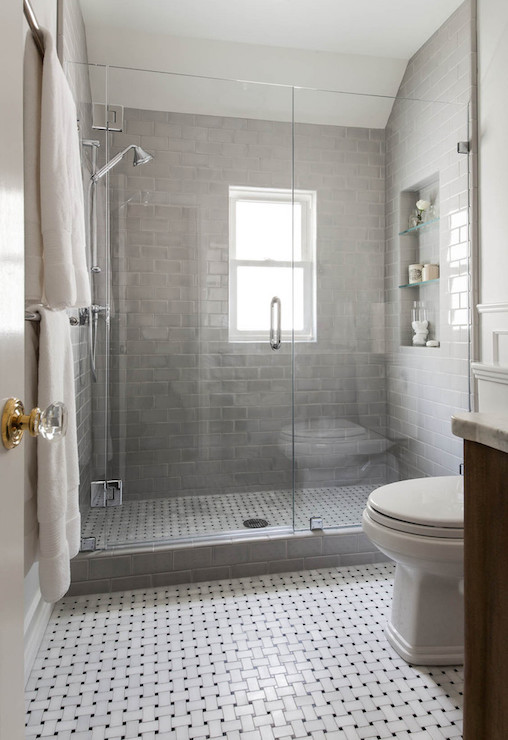 Shower with gray subway tiles transitional bathroom for Find bathroom designs