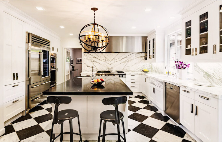 Ordinaire Kitchen With Black And White Floors
