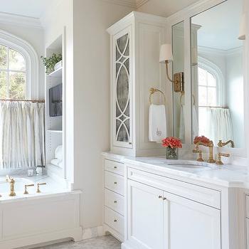 Bathtub Under Window With Curtains, Transitional, Bathroom, Libby Greene Interiors