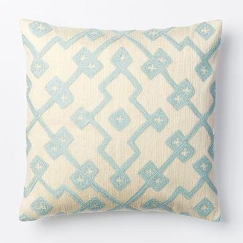 Crewel Lattice Pillow Cover, Pale Harbor I West Elm