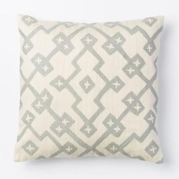 Crewel Lattice Pillow Cover, Platinum I West Elm