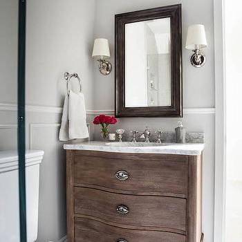 Empire Rosette Single Vanity Sink, Transitional, Bathroom, Benjamin Moore Gray Owl, Niche Interiors
