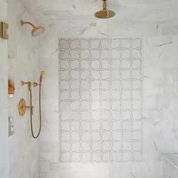 Shower with Gold Fixtures, Transitional, Bathroom, Libby Greene Interiors