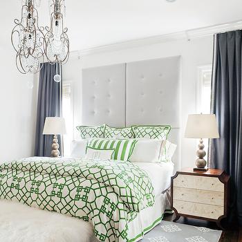 Gray Padded Headboard, Eclectic, Bedroom, Birmingham Home and Garden