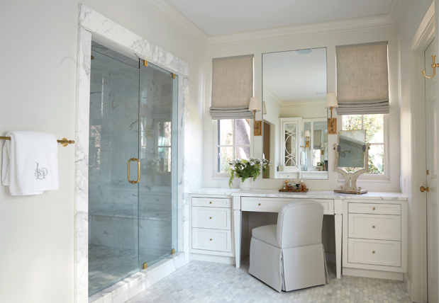 Chinoiserie Bathroom With Skirted Vanity Transitional