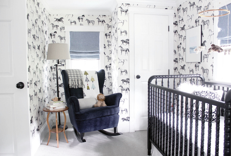 Navy curtains contemporary nursery pulp design studios - Cuartos de bebes decorados ...