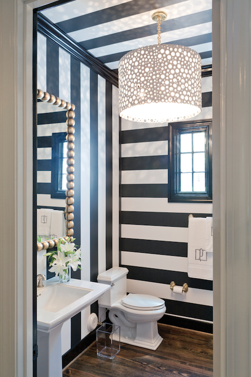 Black and white striped walls contemporary bathroom for Black and white wallpaper for walls